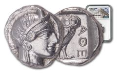 440–404 B.C. Ancient Attica Athens Silver Athena Owl Tetradrachm NGC MS - The Parliament Collection