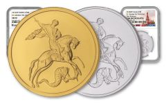 2014-SP & 2018-SP Russia 1/4-oz Gold & 1-oz Silver Saint George the Victorious 2-piece NGC MS70/Gem BU Set - Russian Label