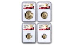 2019-W Gold American Eagle 4-Piece Set NGC PF70UC First Releases - Eagle Label