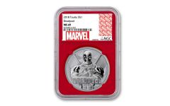 2018 Tuvalu $1 1-oz Silver Deadpool NGC MS69 w/Red Core