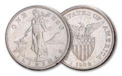 1907-1912 Philippines 1 Peso Teddy Roosevelt Silver Dollar XF-AU