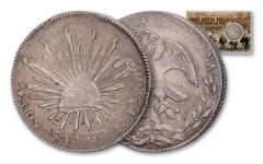 1837–1869 Mexico 8 Reales Cap and Ray F-VF