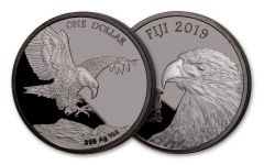 2019 Fiji $1 1-oz Silver Eagle with Blackened Ruthenium Proof