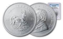 2019 South Africa 1-oz Silver Krugerrand PCGS MS69 First Strike, Blue Label