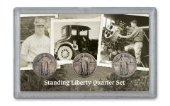 1927–1929-D Standing Liberty Quarter 3-Piece Set VG