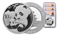 2019 China 30 Gram Silver Panda Three-Mint 3-Piece Set NGC MS70