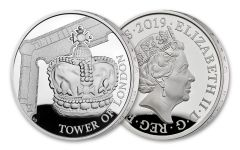 2019 Great Britain £5 Silver Tower of London Crown Jewels Proof