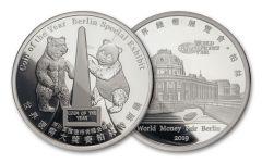 2019 China 1-oz Silver Berlin World Money Fair Show Panda Proof Medal