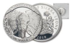 2019 Sierra Leone $20 2-oz Silver Big 5 Elephant High Relief Proof