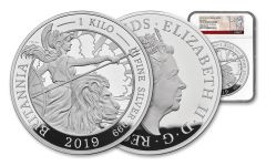 2019 Great Britain £500 Kilo Silver Britannia NGC PF69UC One of First 25 Struck