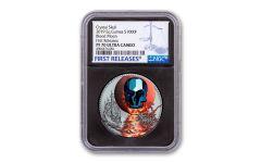 2019 Equatorial Guinea 1-oz Silver Crystal Skull La Luna de Sangre Colorized NGC PF70UC First Releases - Black Core