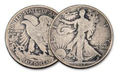 1917-P 50 Cents Silver Walking Liberty VG
