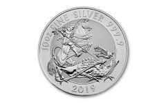 2019 Great Britain £10 10-oz Silver Valiant Saint George Incuse BU