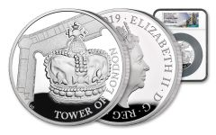 2019 Great Britain £10 5-oz Silver Tower of London Crown Jewels NGC PF70UC One of First 75 Struck