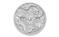 2019 Australia $1 1-oz Silver Double Dragon BU