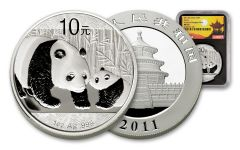 2011 China 10 Yuan 1-oz Silver Panda Shanghai Mint NGC MS70