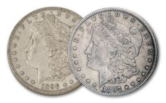 1896–1897-O $1 Morgan Silver Dollar 2-Coin Set XF