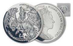 2019 British Indian Ocean Territory £4 2-oz Silver Warrior & Dragon High Relief Proof
