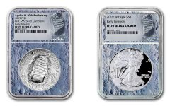 2019 $1 1-oz Silver American Eagle & Apollo 11 Commemorative 2-Piece Set NGC PF70UC Early Releases - Moon Core, Astronaut Footprint Label