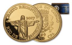 2017 Congo 1/2-Gram Gold Christ the Redeemer in Rio – 7 Wonders of the Modern World Proof