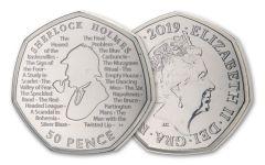 2019 Great Britain 50 Pence 8 Gram CuNi Sherlock Holmes 160th Anniversary BU
