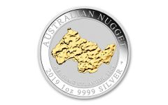 2019 Australia $1 1-oz Silver Welcome Stranger Nugget Gilded Uncirculated
