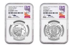 2019-P American Legion 100th Anniversary Silver Dollar Proof & Medal 2-Piece Set NGC PF70 First Releases Black Core - Mercanti Signed Label