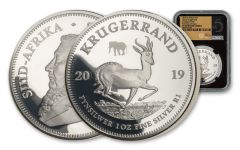 2019 South Africa 1-oz Silver Big 5 Privy Mark Krugerrand Proof NGC PF69UC First Day of Issue w/Black Core