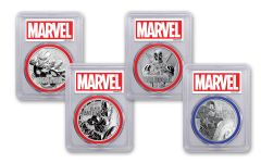 2018–2019 Tuvalu $1 1-oz Silver Marvel 4-Coin Set PCGS MS70 First Strike