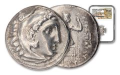 ANC GRK (336-323 BC) ALEXANDER DRACHM NGC VF+