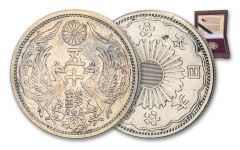 1922–1938 Japan Silver 50 Sen Circulated w/Box