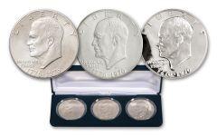 1976 Bicentennial Eisenhower Dollar 3-pc Mint Mark Collection