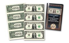 Uncut Sheet of $1 Bills Crisp Uncirculated w/Folder