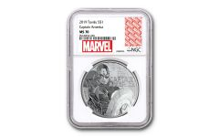 2019 Tuvalu $1 1-oz Silver Captain America NGC MS70 w/Marvel Label