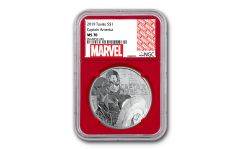 2019 Tuvalu $1 1-oz Silver Captain America NGC MS70 w/Red Core & Marvel Label