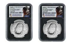 2019-P $1 Silver Apollo 11 50th Anniversary Commemorative NGC PF70UC 2-pc Set w/ASF Labels and Bobko & Hawley Signatures