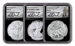 2019 $1 1-oz Silver Eagle NGC MS70-PF70 3-pc Set w/Black Core & Charlie Duke Signature