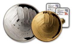 2014 $1 SLV-$5 GLD BASEBLL HOF NGC PF70UC MERCANTI