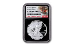 2019-S $1 Silver Eagle NGC PF70UC First Day of Issue w/Black Core & Cable Car Label