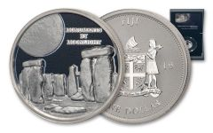 2019 Fiji $1 1-oz Silver Monuments by Moonlight Stonehenge Ultra High Relief Proof