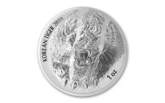 2019 South Korea 1-oz Silver Tiger Medal Gem BU