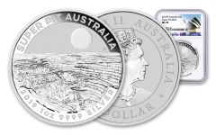 2019 Australia $1 1-oz Silver Super Pit Coin NGC MS70 w/Opera House Label