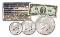 1776–1976 Bicentennial 3-Coin Set w/1976 $2 Note