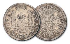 1734–1771 Spain Silver Reale Pillar Fine