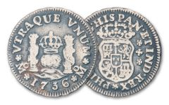 1734–1771 Spain Silver Half Reale Pillar Fine