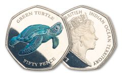 2019 BIOT 50-Pence 8-gm CuNi Green Turtle Colorized Proof