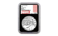 2019 Tuvalu $1 1-oz Silver Incredible Hulk NGC MS70 First Releases w/Black Core & Marvel Label