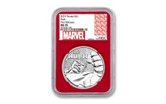 2019 Tuvalu $1 1-oz Silver Incredible Hulk NGC MS70 First Releases w/Red Core & Marvel Label
