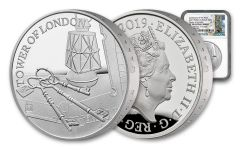 2019 Great Britain £5 Silver Tower of London Ceremony of the Keys Piedfort Proof NGC PF70UC One of First 75 Struck