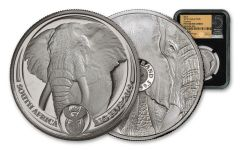 2019 South Africa 1-oz Platinum Big 5 Elephant NGC PF70UC w/Black Core & Tumi Signature